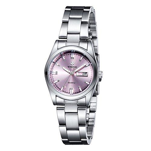 Frauen neue Marke Datum Tag Uhr weiblich Edelstahl Armbanduhr Damen Fashion Casual Armbanduhr Quarz Handgelenk watches pink
