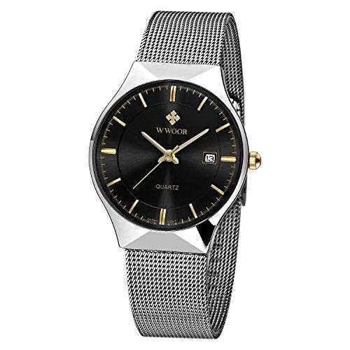 WWOOR Herren Elite Sport Armbanduhr Maennlich Mesh Band Uhr mit Datum schwarz
