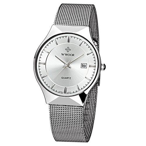 WWOOR Herren Elite Sport Armbanduhr Maennlich Mesh Band Uhr mit Datum weiss