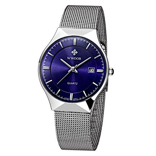 WWOOR Herren Elite Sport Armbanduhr Maennlich Mesh Band Uhr mit Datum Blau