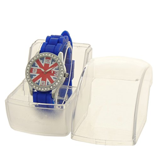 Gift Ideas Kinder Armbanduhr Analog Armband Silikon Blau Zifferblatt rund Boden Flagge Union Jack Marke Geschenk Konzept ref bt unkd bleu