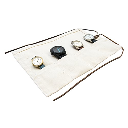 Durable Canvas Travel Watch Roll Organizer Holds Up To 4 Watches Handmade by Hide Drink