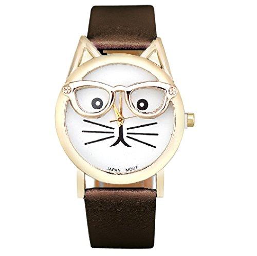 Loveso Armband uhr elegant Frauen Damen Art und Weise nette Glas Katze Analog Quarz Uhr Armbanduhr Braun