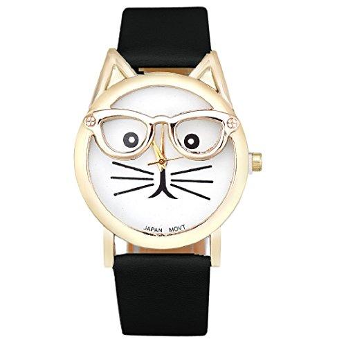 Loveso Armband uhr elegant Frauen Damen Art und Weise nette Glas Katze Analog Quarz Uhr Armbanduhr Schwarz