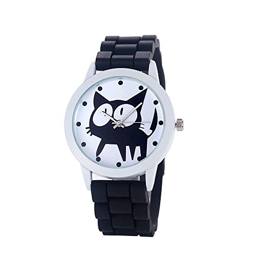Loveso Damen Armband uhr elegant Frauen nette Karikatur Katze Kitty Silikon Quarz Uhr Armbanduhr Schwarz