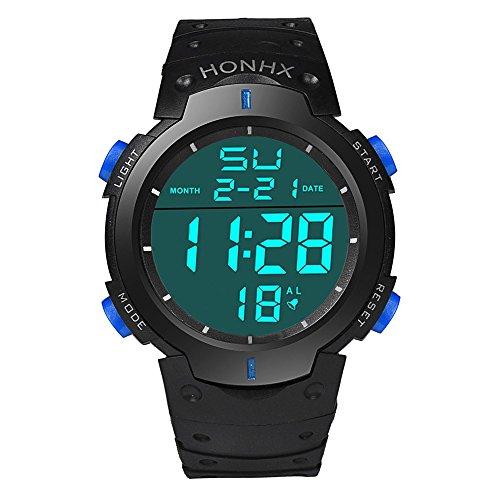 Loveso Armband uhr Herren LCD Digital Stoppuhr Datum Gummi Mode Wasserdichte Herren Boy Sport Armbanduhr Blau