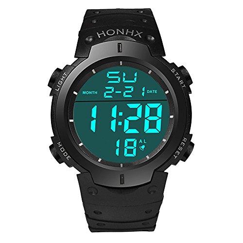 Loveso Armband uhr Herren LCD Digital Stoppuhr Datum Gummi Mode Wasserdichte Herren Boy Sport Armbanduhr Schwarz
