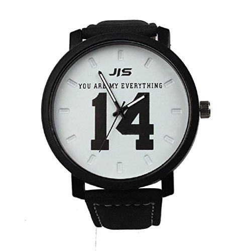 Loveso Armbanduhr elegant Mode einfache Liebhaber Maenner und Frauen Leder Band Quarz analoge Armbanduhr Weiss