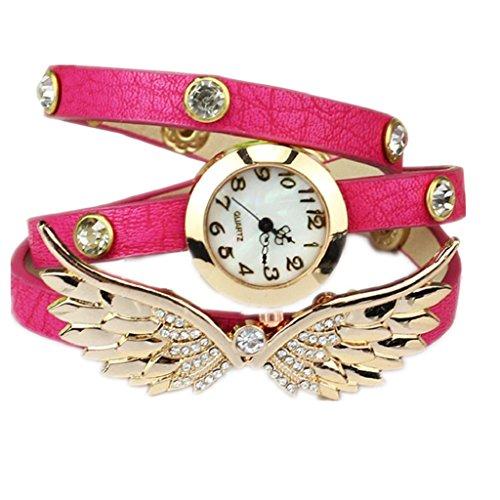Loveso Armbanduhr elegant Mode Angel Wings Weinlese Leder Buegel Armband Armbanduhr Hot Pink