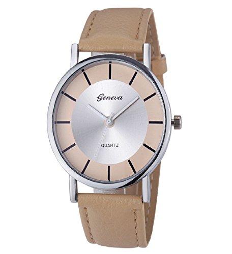 Loveso Armbanduhr elegant Genf Damenmode Retro Dial Leder analoge Uhren Khaki