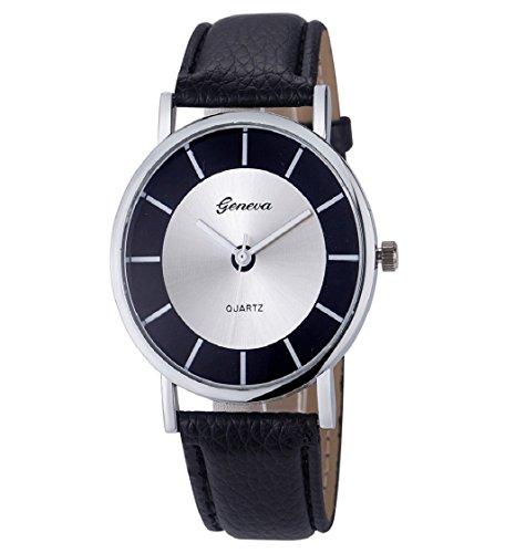 Loveso Armbanduhr elegant Genf Damenmode Retro Dial Leder analoge Uhren Schwarz