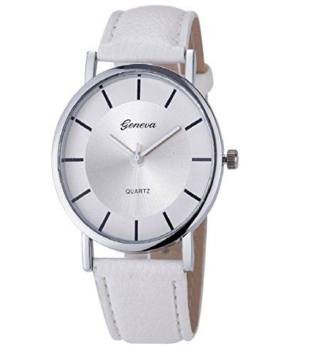 Loveso Armbanduhr elegant Genf Damenmode Retro Dial Leder analoge Uhren Weiss