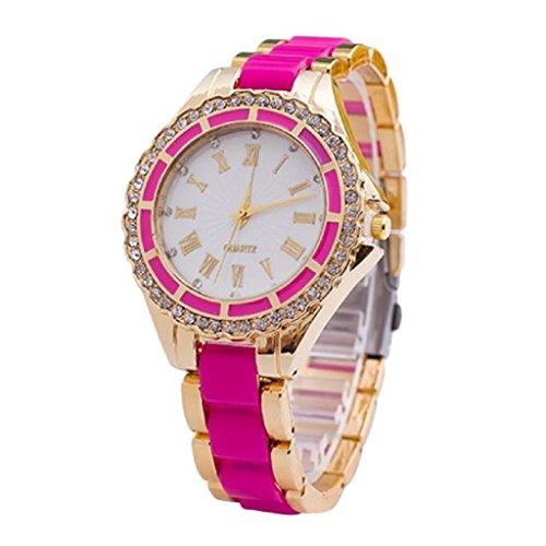 Loveso Armbanduhr elegant Frauen eleganter Kristallvorwahlknopf Band Quarz Edelstahl Armbanduhr Hot Pink