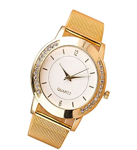 Loveso Armbanduhr elegant Fashion Women Crystal Golden Edelstahl analoge Armband