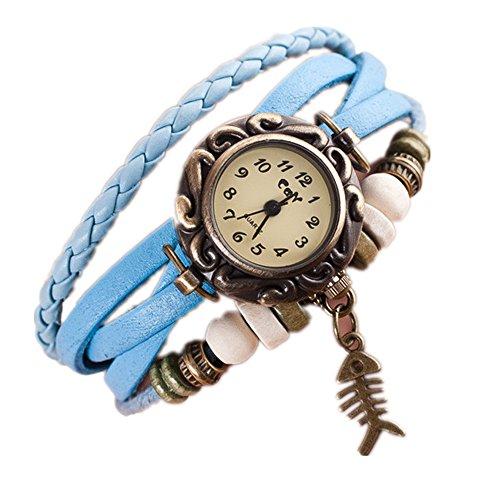 Loveso Armbanduhr elegant Damen Women Fashion Quartz Weave Around Leder Fishbone Armband Armbanduhr Himmelblau