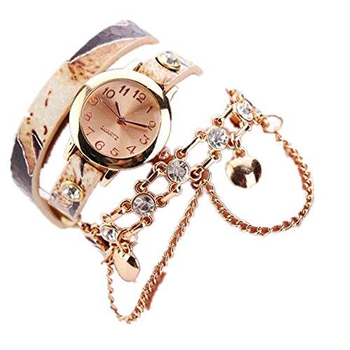 Loveso Armbanduhr elegant Frauen Leder Strass Niet Ketten Quarz Armband Armbanduhr Uhr Beige