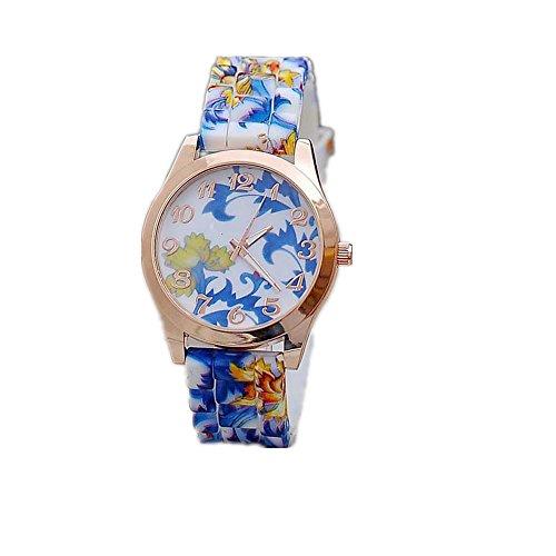 Loveso Armbanduhr elegant Frauen Maedchen Uhr Silikon gedruckte Blumen Causal Blau