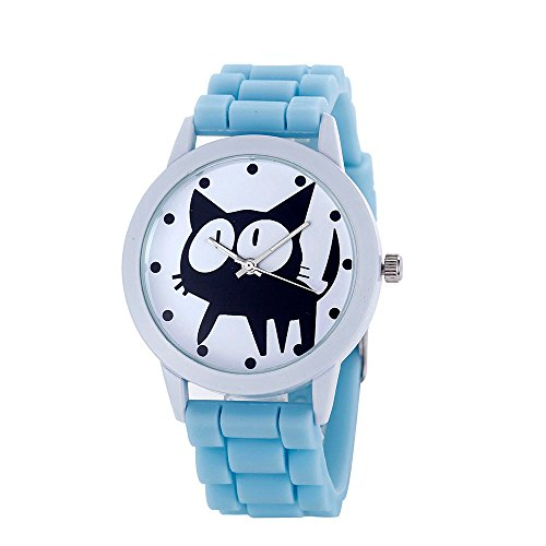 Loveso Armbanduhr elegant Frauen nette Karikatur Katze Kitty Silikon Quarz Uhr Armbanduhr Hell blau