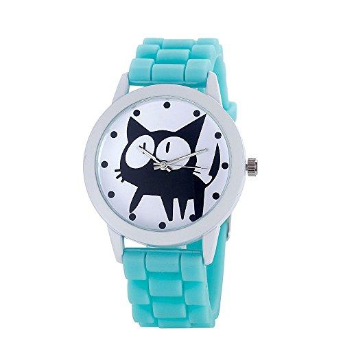 Loveso Armbanduhr elegant Frauen nette Karikatur Katze Kitty Silikon Quarz Uhr Armbanduhr Himmel blau