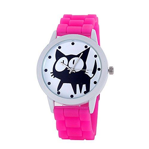Loveso Armbanduhr elegant Frauen nette Karikatur Katze Kitty Silikon Quarz Uhr Armbanduhr Hot Pink