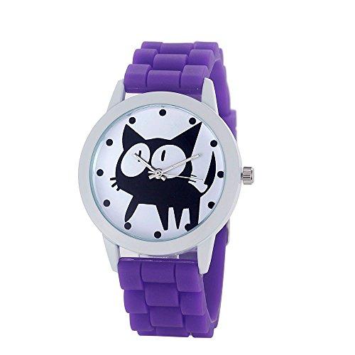 Loveso Armbanduhr elegant Frauen nette Karikatur Katze Kitty Silikon Quarz Uhr Armbanduhr Lila