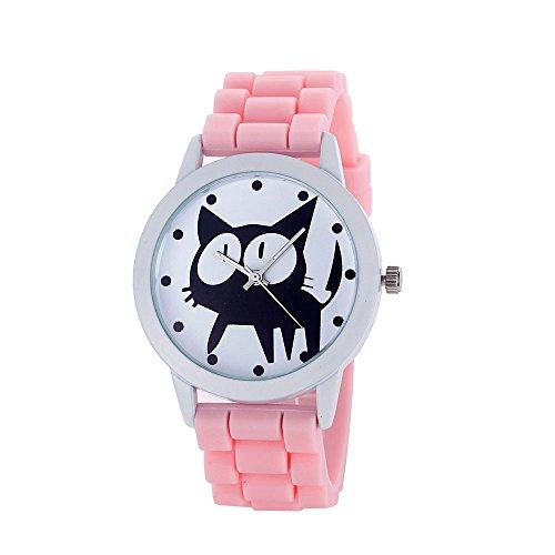 Loveso Armbanduhr elegant Frauen nette Karikatur Katze Kitty Silikon Quarz Uhr Armbanduhr Pink