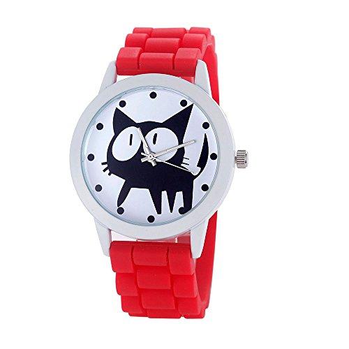Loveso Armbanduhr elegant Frauen nette Karikatur Katze Kitty Silikon Quarz Uhr Armbanduhr Rot