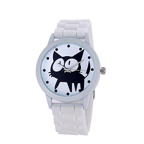 Loveso Armbanduhr elegant Frauen nette Karikatur Katze Kitty Silikon Quarz Uhr Armbanduhr Weiss
