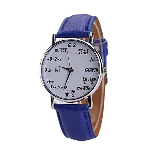 Loveso Armbanduhr elegant Frauen und Herren Kreative Neue Math Mathematische Formel Leder Sport Uhr Blau