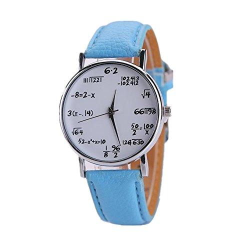 Loveso Armbanduhr elegant Frauen und Herren Kreative Neue Math Mathematische Formel Leder Sport Uhr Himmelblau