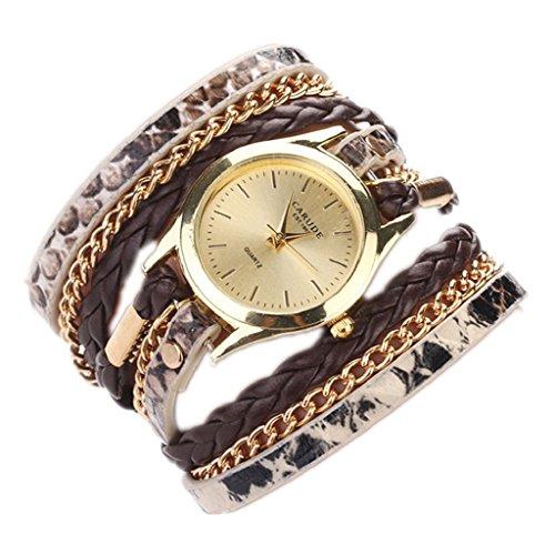 Loveso Armbanduhr elegant Frauen Mode Leopard Armband Quarz Geflochtene Verpackungs Uhr Armbanduhr Braun