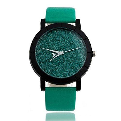 Loveso Armbanduhr elegant Lovers Stern Minimalist Mode Uhren Lederarmbanduhr Gruen
