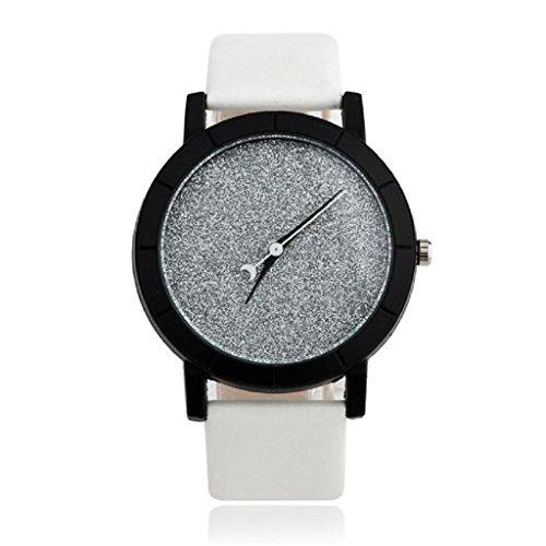 Loveso Armbanduhr elegant Lovers Stern Minimalist Mode Uhren Lederarmbanduhr Weiss
