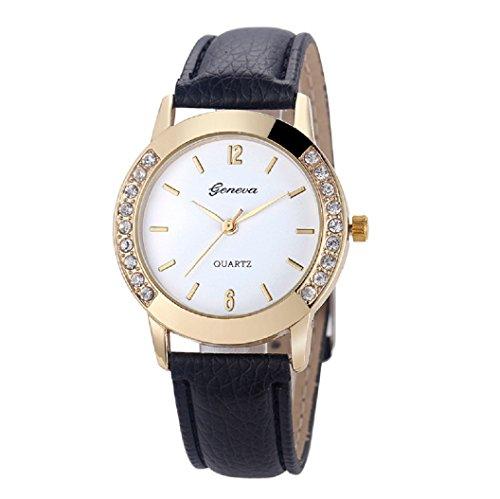 Loveso Armbanduhr elegant Genf Art und Weise Frauen Diamant analoge lederne Uhren Schwarz
