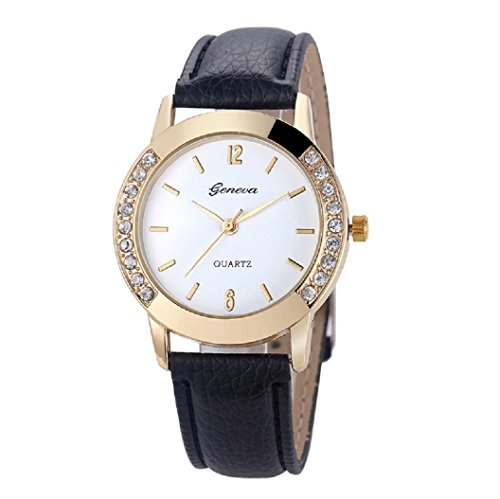 Loveso Armbanduhr elegant Genf Art und Weise Frauen Diamant analoge lederne Quarz Armbanduhr Uhren Schwarz