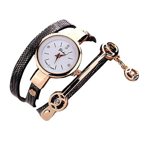 Loveso Armbanduhr elegant Frauen elegante Metallbuegel Uhr mit 8 verschiedenen Farben Schwarz