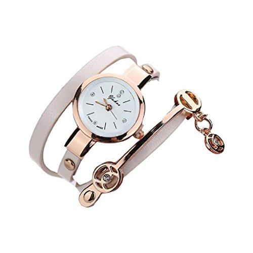 Loveso Armbanduhr elegant Frauen elegante Metallbuegel Uhr mit 8 verschiedenen Farben Weiss