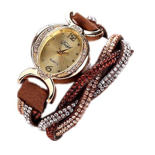 Loveso Armbanduhr elegant Frauen heissen Mode elegante Luxus Herz Anhaenger Uhren Armbanduhren Kaffee