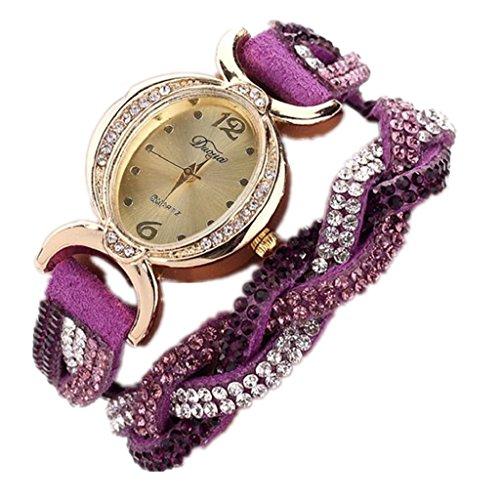 Loveso Armbanduhr elegant Frauen heissen Mode elegante Luxus Herz Anhaenger Uhren Armbanduhren Lila