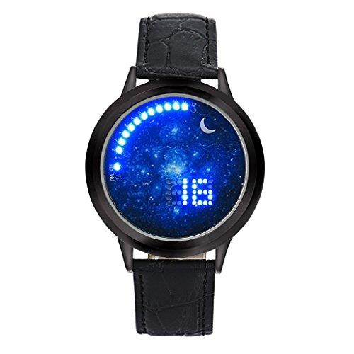 Loveso Armbanduhr elegant Neue Mode Frauen Herren Jungen Multifunktions Sport Touch LED elektronische Uhr Schwarz
