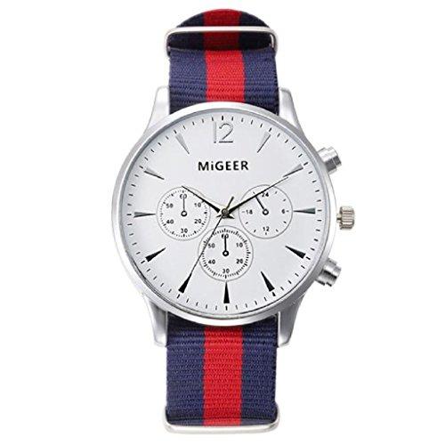 Loveso Armbanduhr Luxusmode Canvas Maenner analoge Uhr Armbanduhren Weiss Rot Uhrarmband