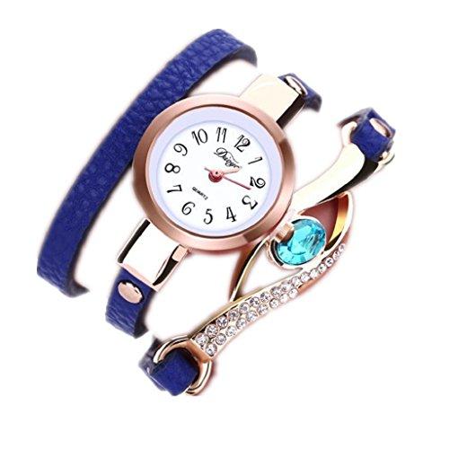 Loveso Armbanduhr elegant Mode elegante Frauen Leatheroid Diamant Verpackung um analoge Blau