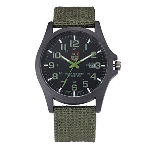 Loveso Elegant Armbanduhr Mode Outdoor Herren Datum Edelstahl Militaer Sport analoge Armee Gruen