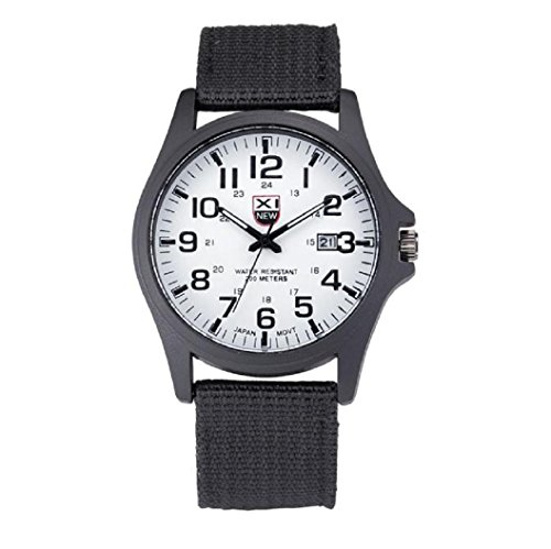 Loveso Elegant Armbanduhr Mode Outdoor Herren Datum Edelstahl Militaer Sport analoge Armee Schwarz Weiss
