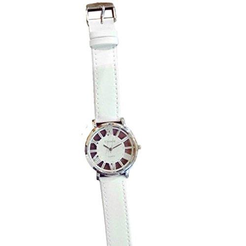 Loveso Armbanduhr elegant Maenner und Frauen Students Minimalist Mode Liebhaber Hohl Gurt Quarz Uhr Weiss
