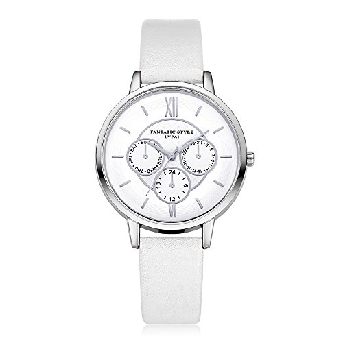 Loveso Armbanduhr elegant Neuer weiblicher Temperament Quarz runder lederner Gurt mit simulierter Uhr Weiss