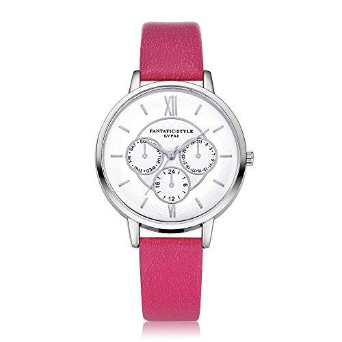 Loveso Armbanduhr elegant Neuer weiblicher Temperament Quarz runder lederner Gurt mit simulierter Uhr Hot Pink
