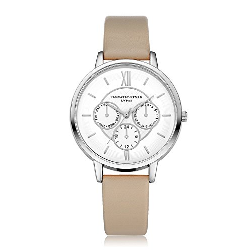 Loveso Armbanduhr elegant Neuer weiblicher Temperament Quarz runder lederner Gurt mit simulierter Uhr Beige