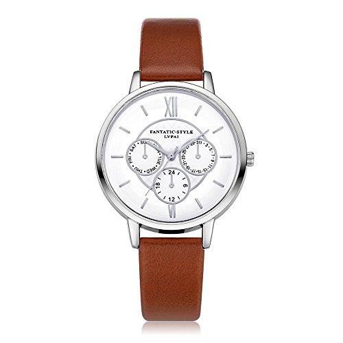 Loveso Armbanduhr elegant Neuer weiblicher Temperament Quarz runder lederner Gurt mit simulierter Uhr Braun