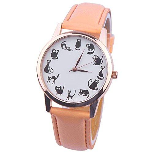 Loveso Damen uhr Armbanduhr elegant Frauen Mode Zeiger analoge Quarz Leder Band Mode Armbanduhren Orange